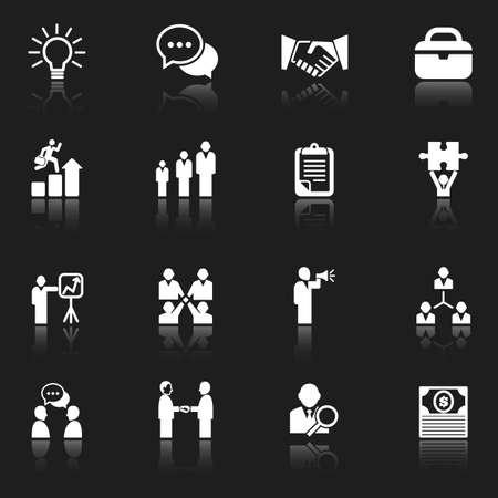 White Business Icons - set of icons with reflections isolated on a dark gray background   Vector eps 10 file  Illustration