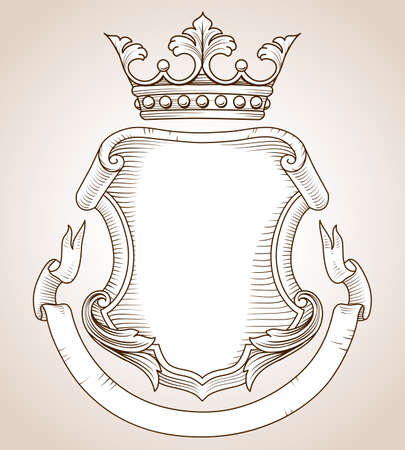 zbraně: Coat of Arms - Ručně kreslená, velmi detailní erb ilustrace