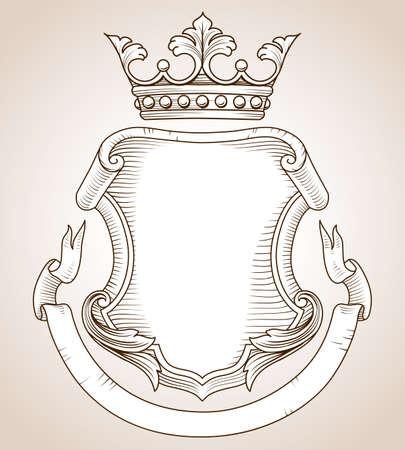 escudo de armas: Escudo de armas - dibujado a mano Escudo muy detallada, de armas de la ilustración