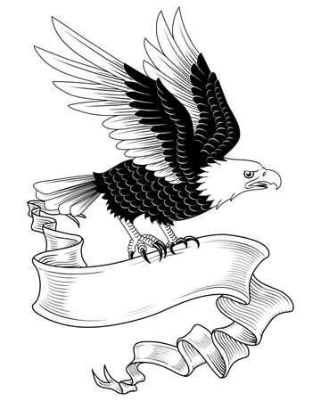 Eagle with Banner - Hand-drawn eagle holding a banner