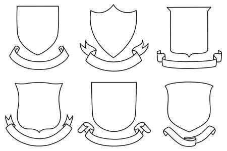 Scudi e Banner Set - Un set di scudo e banner forme Archivio Fotografico - 31675697