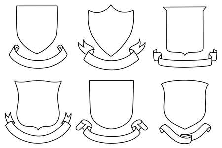 badge shield: Shields and Banners Set - A set of shield and banner shapes