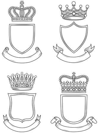 Shield, Banner, and Crown Set Reklamní fotografie - 31675711