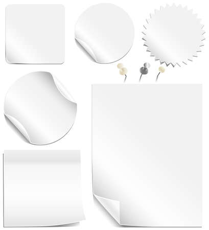 peeling corner: White Labels and Pages - Realistic white and silver thumbtacks also included.  Each element is grouped individually for easy editing.