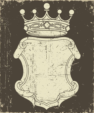 Grunge Coat of Arms - Elements and textures are on separate layers for easy editing.  Colors can be changed easily. Ilustração
