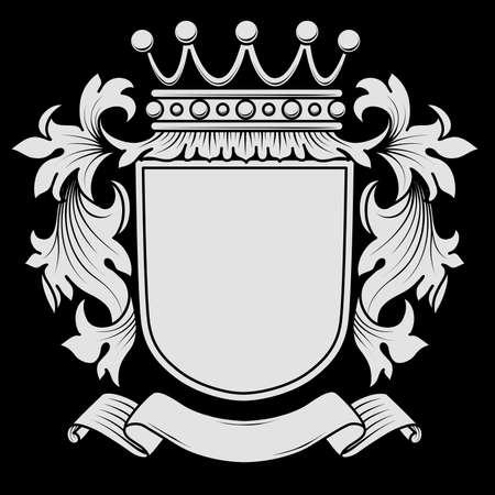 escudo de armas: Escudo de armas con el desmantelamiento - los elementos están en capas separadas para facilitar la edición. Los colores se pueden cambiar fácilmente. Vectores