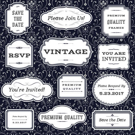 Vintage Frames on Damask Background- frame and label shapes on seamless damask background.  Damask background swatch is included in swatches panel.  Colors are global for easy editing.