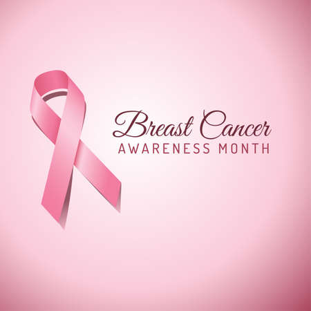 Breast Cancer Awareness ribbon on a pink background.  File is layered, and colors are global swatches for easy editing.