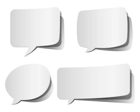 Set of white, peeling speech bubbles.  Colors in gradients are global, so they can be changed easily.  Each element is grouped individually for easy editing.