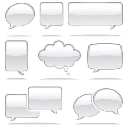 correspond: Set of glossy speech bubble icons.  Each element is grouped individually for easy editing.