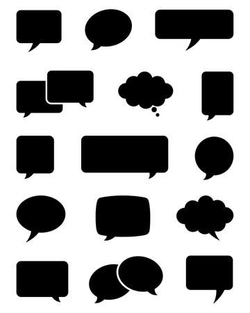 Set of speech bubble icons.  Each element is grouped individually for easy editing. 일러스트