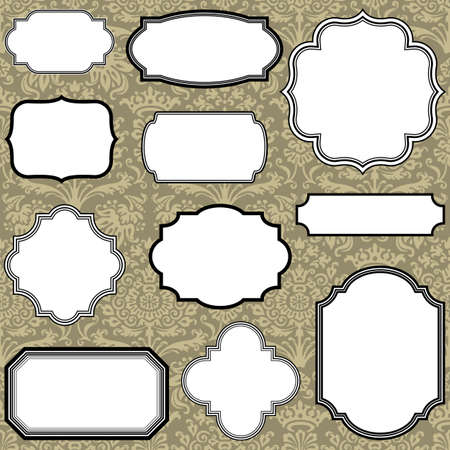 clipping mask: Set of Vintage frame and label shapes on seamless damask background.  Damask background is behind a clipping mask.