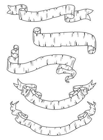 매우 상세한, 손으로 그린 배너의 집합입니다. 각 배너는 개별적으로 그룹화됩니다. 개요 및 채우기 색상을 쉽게 편집 할 수 있습니다.