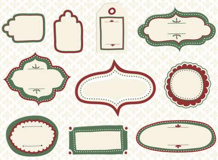 휴일 낙서 라벨 - 휴일 테마와 원활한 패턴 배경에 낙서 라벨 및 태그의 집합입니다.