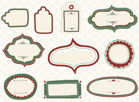 retro: Holiday Doodle Labels - Set of doodle labels and tags with a holiday theme, and seamless pattern background.
