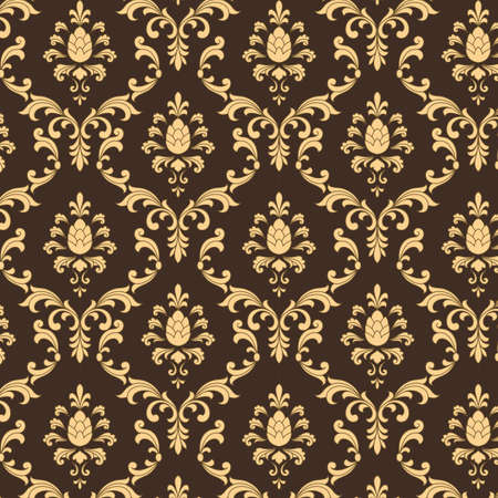 Brown and Gold Damask Pattern - Vector Seamless Pattern.  Pattern is under a clipping mask.  Colors are easily edited.