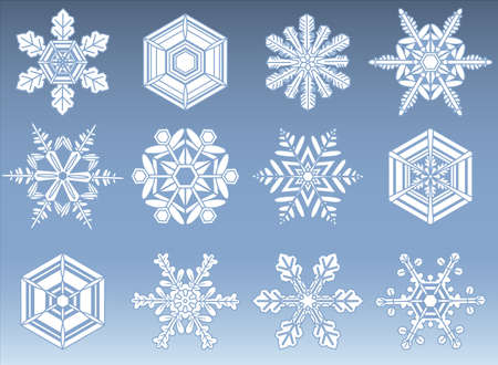 snowflake set: Snowflake Icon Set - File is layered, and each snowflake is grouped individually for easy editing.  Colors are global swatches, so they can be modified easily. Illustration
