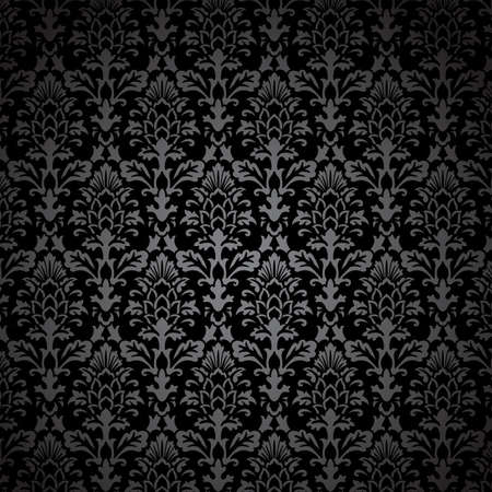 Black Damask Pattern - Vector Seamless Pattern.  Colors are easily edited.