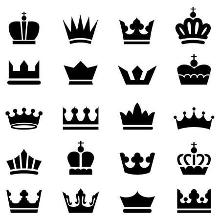 corona rey: Crown Icons - Un conjunto de 20 iconos de la corona de vectores aislados sobre un fondo blanco. Vectores