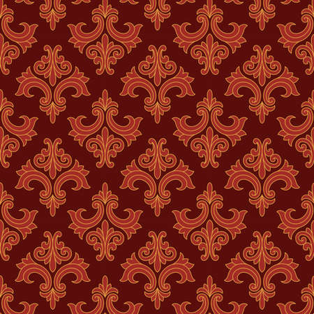 Red and Gold Gothic Pattern - Vector Seamless Pattern.  Pattern is under a clipping mask.  Colors are global for easy editing. Illustration