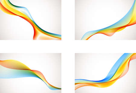 rainbow abstract: Abstract Rainbow Backgrounds - A set of 4 colorful vector backgrounds. Illustration