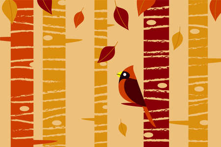 Falling Leaves and Cardinal - Autumn-themed vector background.  Objects and textures grouped in different layers for easy editing.  Colors are global for easy editing.