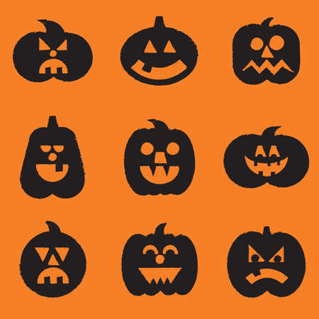 Halloween Pumpkins Set - File is layered, and colors are global swatches for easy editin Vector