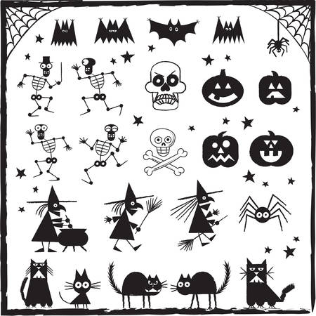 Halloween Design Elements - Set of hand drawn Halloween designs. Each object is grouped for easy editing.