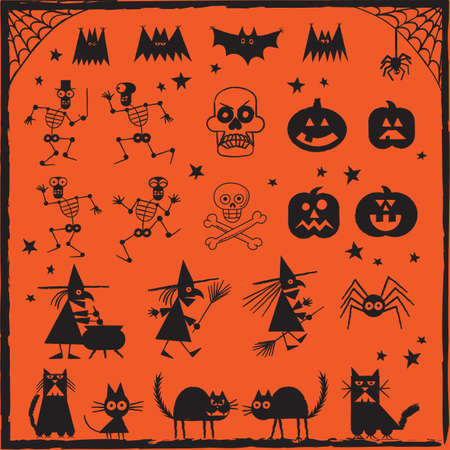 Halloween Design Elements - Set of hand drawn Halloween designs. Each object is grouped for easy editing. Vector