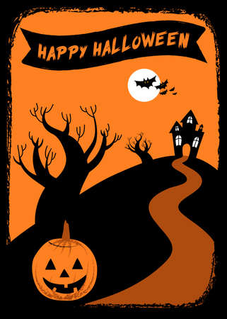 Hand-drawn grunge background with a Halloween themed elements framing the space for your text.  Elements are grouped for easy editing. Vector