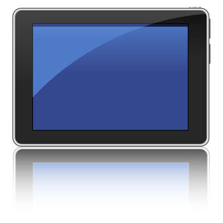 Black Tablet Computer - illustration of a tablet computer with reflection.