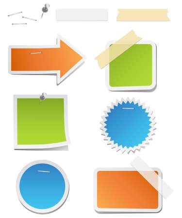 tachuelas: Las etiquetas de colores con grapas y cinta - etiquetas con grapas, tachuelas, y cinta adhesiva.