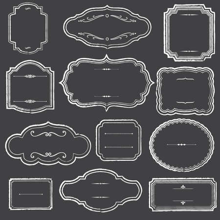 fancy border: Chalkboard Frames and Ornaments - Set of chalk frame and label shapes.