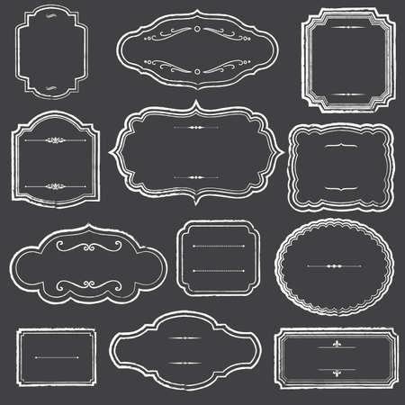 Chalkboard Frames and Ornaments - Set of chalk frame and label shapes.