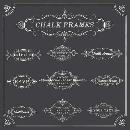 Chalkboard Frames - Chalk style frames and labels. Each object is grouped for easy editing. Çizim