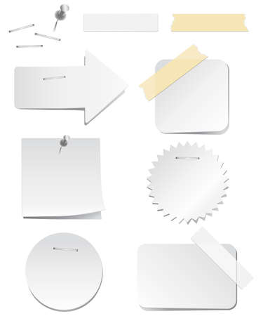 white labels with staples and tape royalty free cliparts vectors