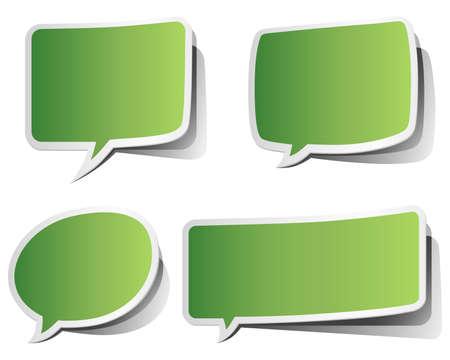Green Peeling Speech Bubbles  Ilustração