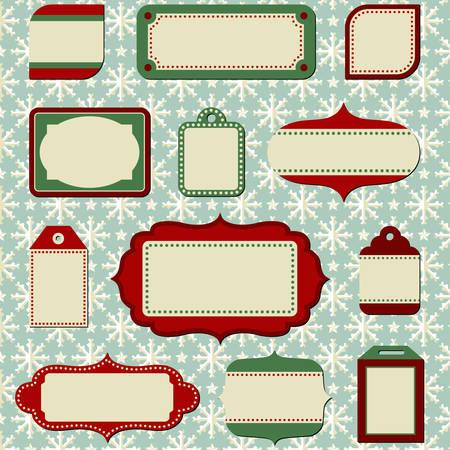 Retro Holiday Labels and Tags Ilustração