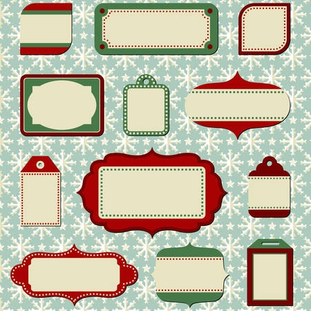 Retro Holiday Labels and Tags Illustration