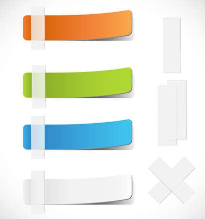 peeling: Colorful Labels with Tape - Set of colorful peeling labels with clear tape.