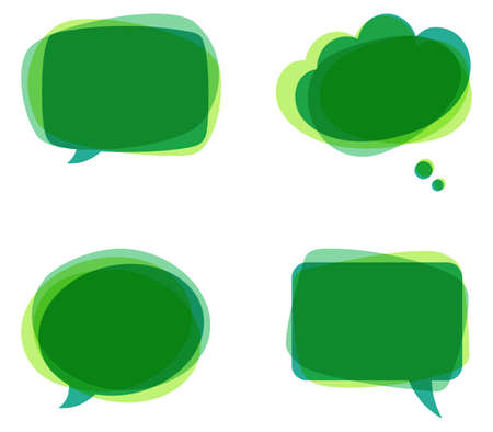 Green Speech Bubbles - Set of colorful, abstract speech bubbles.   Çizim