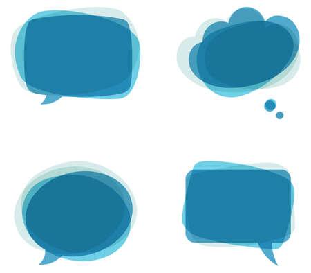 Blue Speech Bubbles - Set of colorful Illustration