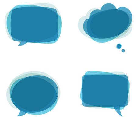 Blue Speech Bubbles - Set of colorful Çizim