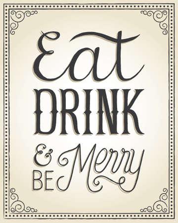 ビンテージ クリスマス背景 - 手文字メッセージとビンテージのクリスマス背景「食べる、飲む・ メリーします」.  イラスト・ベクター素材