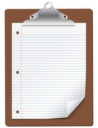 lined: Vector Clipboard with Lined Paper - Vector clipboard with lined paper.  All elements are grouped separately for easy editing.  All colors are global swatches and can be edited easily.