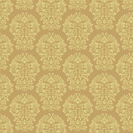 Gold Damask Pattern - Vector pattern background.  Colors are easily edited. Illustration