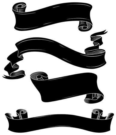 블랙 배너 설정은 - 매우 상세한 손으로 그린 배너의 집합입니다. 각 배너는 쉽게 편집 할 자신의 각각의 층에 있습니다. 일러스트