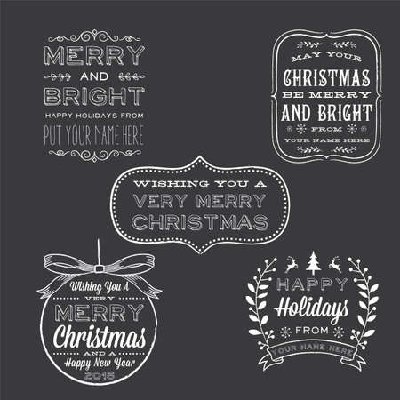 Holiday Chalkboard Greetings - Christmas and New Years Holiday greetings. Each label is grouped for easy editing. Use these overlays to create your own customized greeting cards. Vector