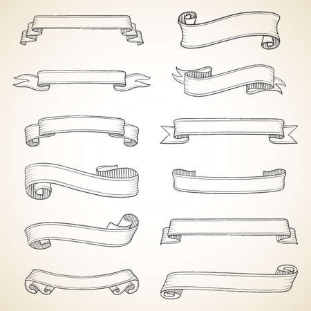 vendimia: Banners serie Vintage - Cada objeto se agrupan para facilitar la edición. Vectores