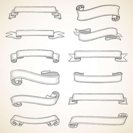 Vintage Banners Set - Elk object is gegroepeerd voor eenvoudige bewerking.